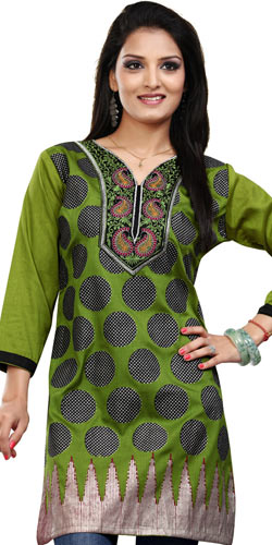 Appealing Green Coloured Crepe Silk Printed Kurti