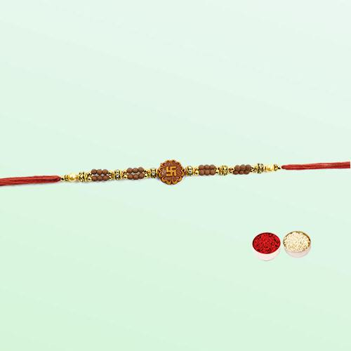 Splendid Swastik Rakhi with Free Roli Tilak N Chawal for your Dear Brother