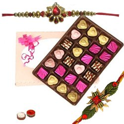 Sumptuous n Delightful pack of 24 pcs Assorted Home made Chocolates with Rakhi and Roli Tilak Chawal