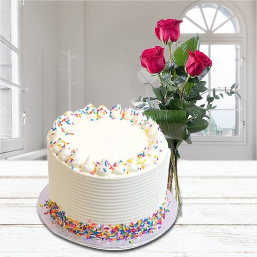 Cheering Aroma 2.2 Lbs Vanilla Cake with 3 Red Rose Bunch