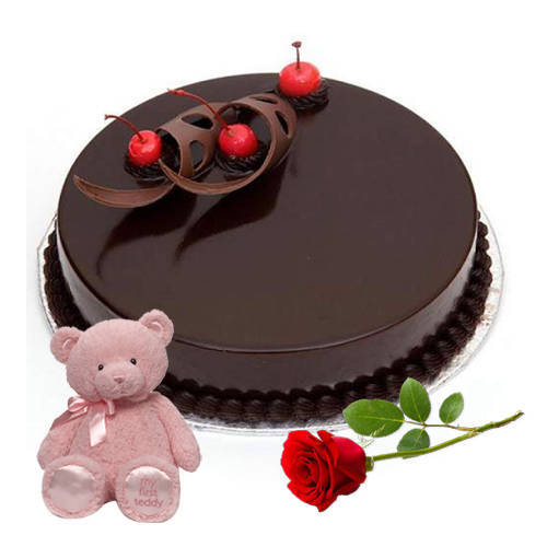 Delightful Combo of Chocolate Cake with Teddy N Red Rose