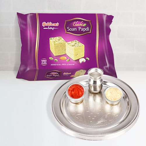 Silver Plated Thali with Soan Papdi from Haldiram