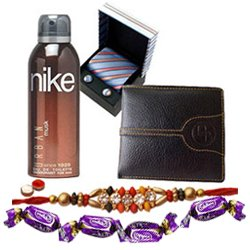 Superb Combo of Gents Accessories with Free Rakhi and Roli Tilak Chawal