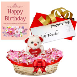 Outstanding Combo of Shoppers Stop Gift Voucher worth Rs.1000, Cute Teddy, Corazon Chocolate Basket and Message Card