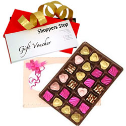 Popular Choice of Shoppers Stop Gift Voucher Worth Rs.1000 and 24 Pcs. Home made Assorted Chocolate