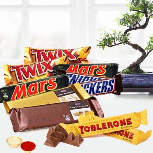Delicous Chocolate Bars Hamper with free Roli Tilak and Chawal