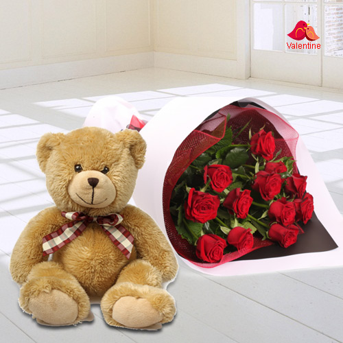 Fragrant Red Roses Bouquet with Teddy