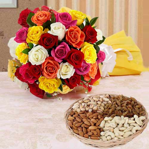 Exotic 1 Kg. Dried Fruits Assortment and Two Dozen Flashy Roses with Love