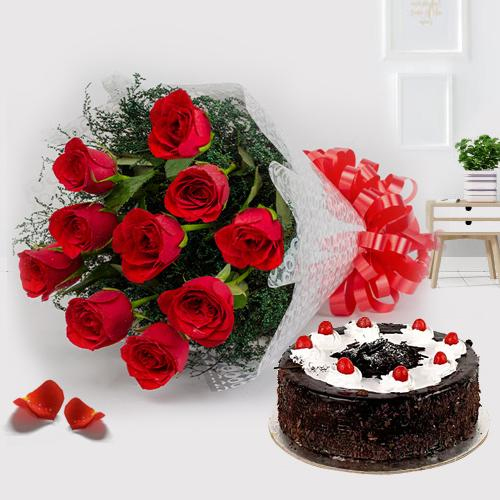 Bright dazzling Red Roses and yummy Black Forest Cake