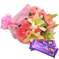 Anniversary Perfect Combo of Mixed Flowers Bouquet and Cadbury Chocolates