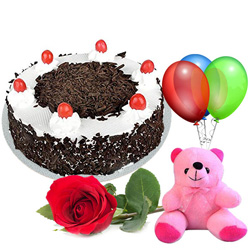 Anniversary Special Rose with Black Forest Cake, Teddy and Balloons