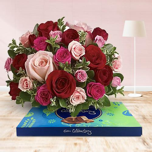 Visually 50 Pink and Red Roses Assortment with Cadburys Chocs Pleasure