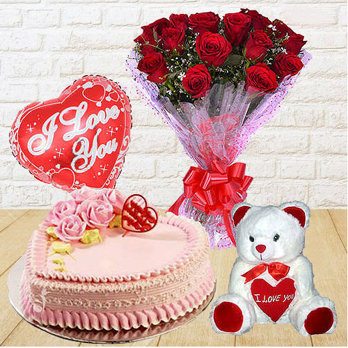 Beautiful 12 Dutch Red Roses Bunch with Teddy Bear, 1 Lb Love Cake and Heart Shaped Balloons