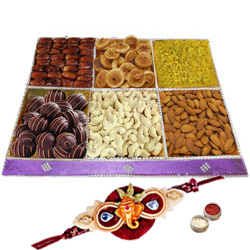 Zestful Marvel Dry Fruit and Chocolate Assemblage with One Rakhi and Roli Tilak Chawal