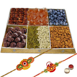 Garnished Menu Dry Fruit and Chocolate Platter with Two Rakhis and Roli Tilak Chawal