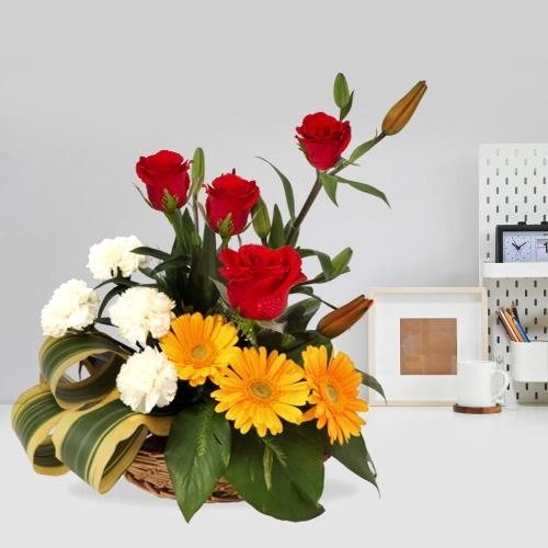Enthralling Seasonal Mixed Flower Basket