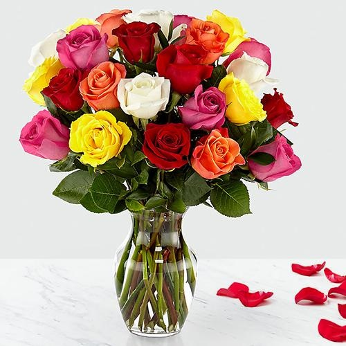 Breathtaking 24 Mixed Roses in Vase with Love