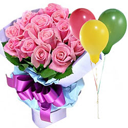 Perfectly Pastel Pink Roses along with Balloons