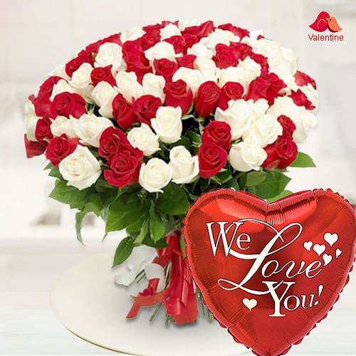 Glowing Marvel Red  N  White Roses Premium Bouquet