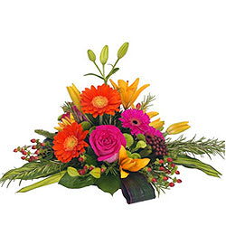 Multi-Coloured Flower Basket of Lilies, Gerberas and Roses