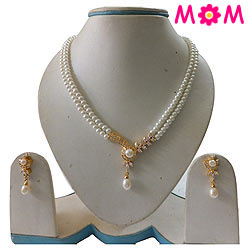 Pretty Double Line Pearl Set with Earrings