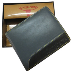 Beautifully designed black colored gents wallet from Longhorn