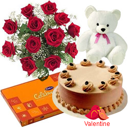 <u><font color=#008000> MidNight Delivery : </FONT></u>:12 Exclusive  Dutch Red  Roses  Bouquet with Cake , Cadburys Assorted Chocolates and  a Cute Teddy Bear