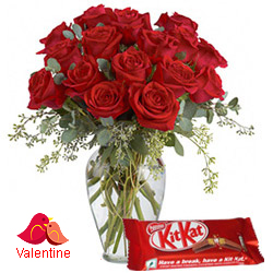 <u><font color=#008000> MidNight Delivery : </FONT></u>:Exclusive  Dutch Red    Roses  in Vase with free Cadburys Chocolate