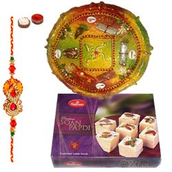 Delicious Pack of Rakhi Special Soan Papri from Haldiram and Thali along with Rakhi, Roli Tilak and Chawal