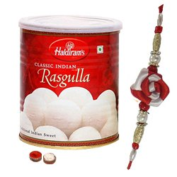 Rakhi with Gift of Haldiram Rasgulla Pack