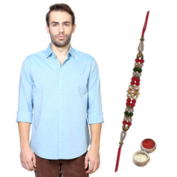 Swanky Peter England Shirt and Rakhi Duo Set