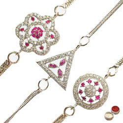 Spectacular Three Rhodium Plated Rakhis
