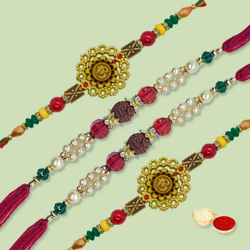 Marvelous Rakhi Special Four Pieces Rakhi Thread Set with free Roli Tilak and Chawal for your Dear Brother