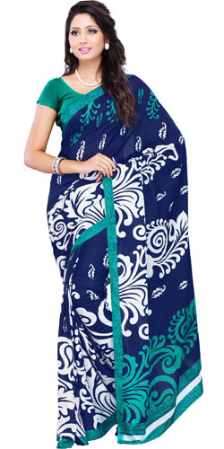 Appealing Faux Georgette Printed Navy Blue Saree