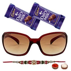 Amazing Oval Shaped Sunglasses with a Maroon Grey Body from <b>Fastrack</b> for Men with One Rakhi and Chocolates and Roli Tilak Chawal
