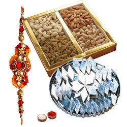 Wonderful Gift Pack of Haldiram Kaju Katli and Dry Fruits with free Rakhi, Roli Tilak and Chawal for Rakhi Celebration