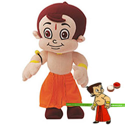 Wonderful Chota Bheem Soft Toy with Choota Bheem Rakhi and Roli Tilak Chawal