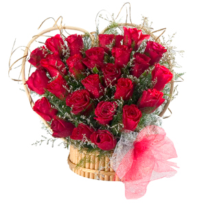 Artistic Heart Made Arrangement of 24 Red Roses