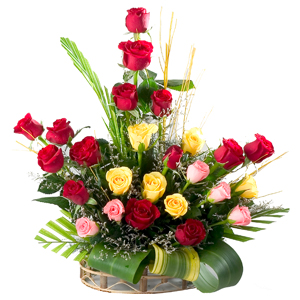 Fashionable Basket with Splendid Assortment of 24 Mixed Roses