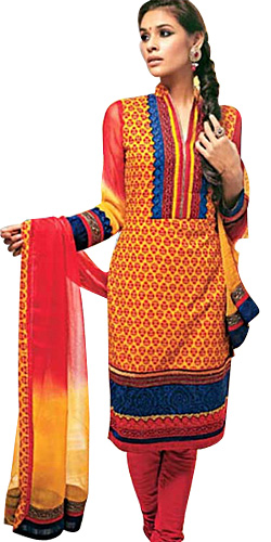 Gorgeous Red and Yellow Cotton Printed Unstitched Salwar Suit