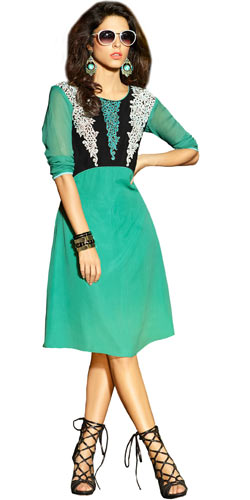 Flattering Georgette Embroidered Kurti in Turquoise Green
