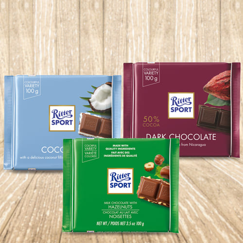 Tasty Ritter Sport Pack of 3 Assorted Chocolates