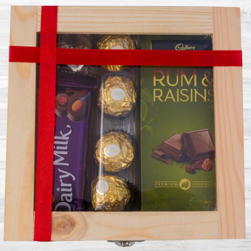 Enjoyable Wooden Gift Box of Assorted Chocolates