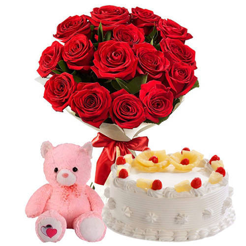 Fantastic Red Roses Bunch with Pineapple Cake & Small Teddy