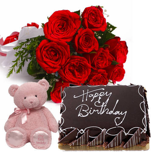 Hamper of Yummy Eggless Choco Cake with Red Roses Bouquet & Small Teddy