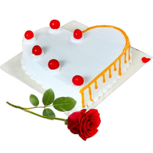 Yummy Heart Shaped Vanilla Cake with Red Rose