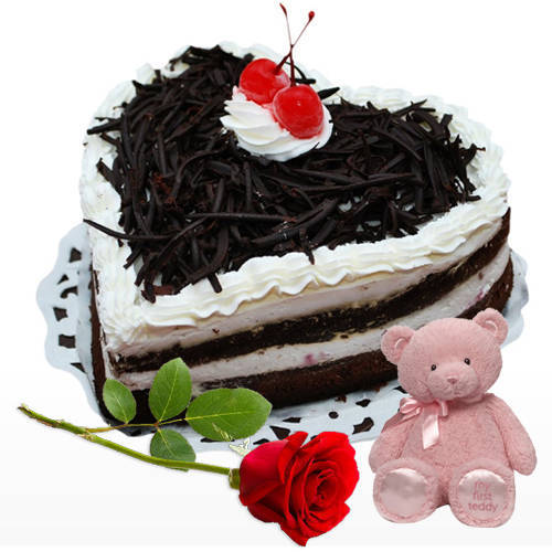 Tasty Heart-Shaped Black Forest Cake with Teddy N Rose