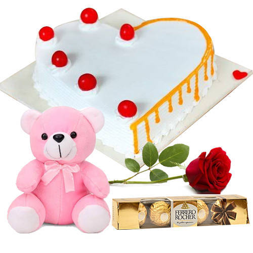 Long-Stem Red Rose with Ferrero Rocher, Heart Shape Vanilla Cake N Teddy