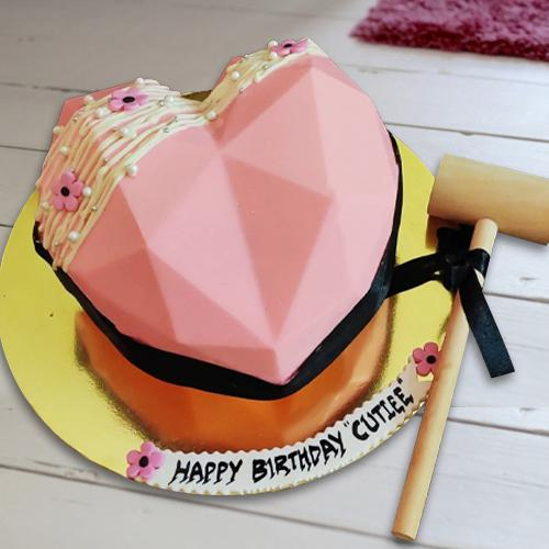 Marvelous Pink Heart Shape Piñata Cake with Hammer