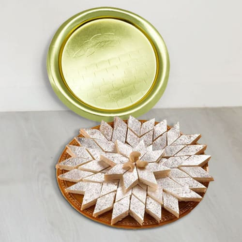 Mouth-Watering Kaju Katli with Golden Plated Thali